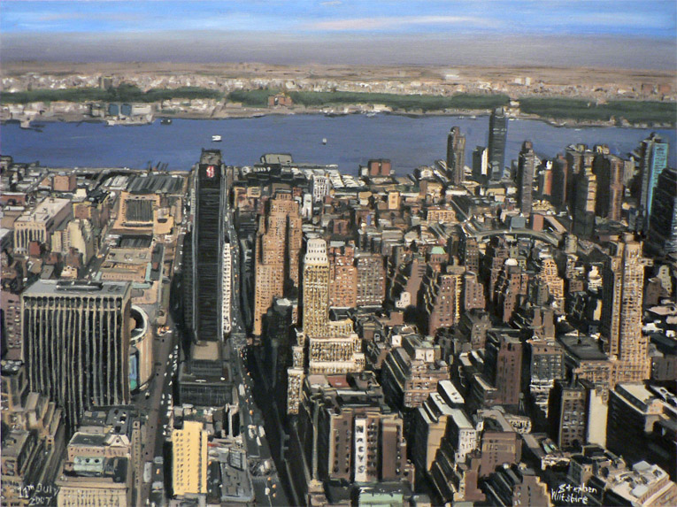 Stephen Wiltshire - Manhattan Skyline from top of Empire State - oil on canvas